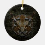 Celtic Shield And Swords Double-Sided Ceramic Round Christmas Ornament