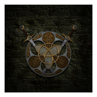 Celtic Shield and Swords Poster