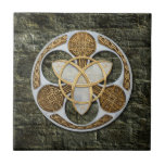 """Celtic Shield Ceramic Tile<br><div class=""""desc"""">This is not meant to be a true representation of the traditional Celtic shield,  which was ovoid and usually made of brass or bronze. This is my decorative interpretation of a Celtic shield,  with Trinity knot,  and decorative Celtic knot symbols inlays.</div>"""