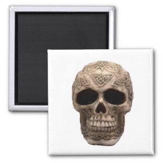 Celtic Skull 2 Inch Square Magnet