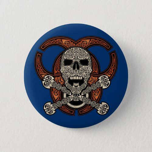 Celtic Skull & Biohazard Button
