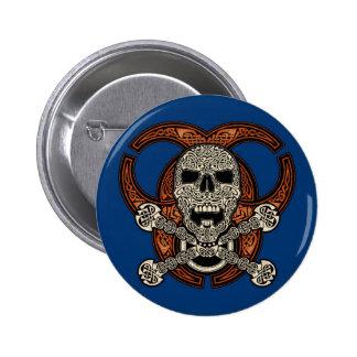 Celtic Skull & Biohazard Button