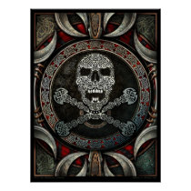 Celtic Skull & Crossbones Mandala Poster (18x24