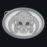 "Celtic Skull Oval Belt Buckle<br><div class=""desc"">My Celtic greyscale art,  Is shown here as the skull of a fallen hero in an engraved helmet</div>"