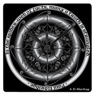 Celtic Spider Mandala Square Wall Clock