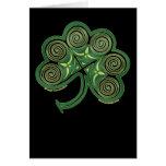 Celtic Spiral Card, Irish Shamrock Design