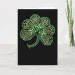 Celtic Spiral Card, Irish Shamrock Design Card