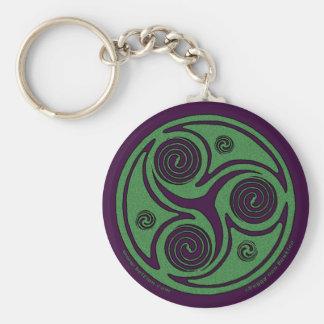 Celtic Spiral Keychain, Triskelion design #1 Basic Round Button Keychain
