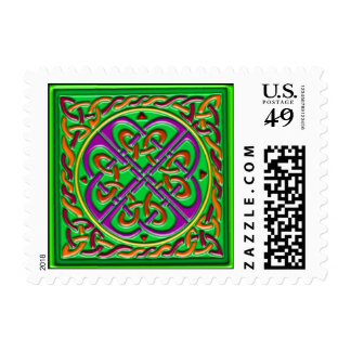 Celtic square green postage