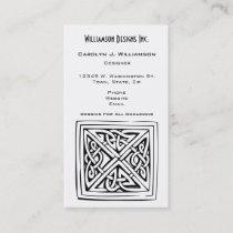 Celtic Square Knot Block Design Black White Custom Business Card