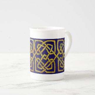 Celtic Square Knots in Gold on Dark Blue Porcelain Mugs