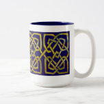 Celtic Square Knots in Gold on Dark Blue Two-Tone Coffee Mug