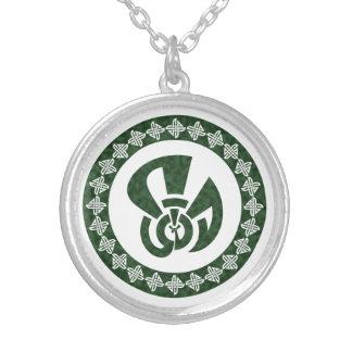 Celtic Square Knots, Peacock Center Round Pendant Necklace
