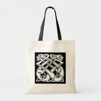 Celtic square pattern - black and white budget tote bag
