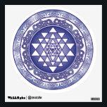 "Celtic Sri Yantra Mandala Wall Decal<br><div class=""desc"">blue sri yantra with celtic themed lotus design</div>"