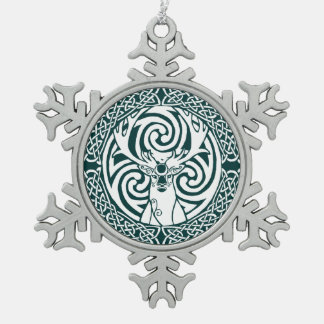 Celtic Stag Snowflake (Forest) Snowflake Pewter Christmas Ornament