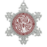 Celtic Stag Snowflake (Holly) Snowflake Pewter Christmas Ornament