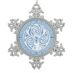 Celtic Stag Snowflake (Winter) Snowflake Pewter Christmas Ornament