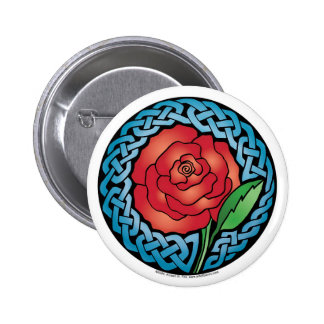 Celtic Stained Glass Rose 2 Inch Round Button