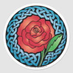 Celtic Stained Glass Rose Classic Round Sticker