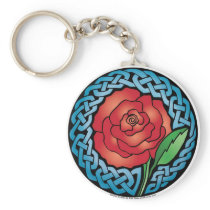 Celtic Stained Glass Rose Keychain