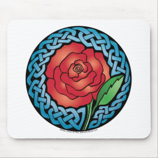 Celtic Stained Glass Rose Mouse Pad