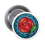 Celtic Stained Glass Rose Pinback Button