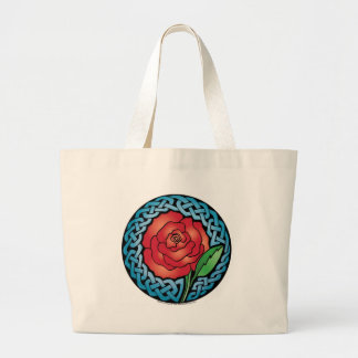 Celtic Stained Glass Rose Tote Bags