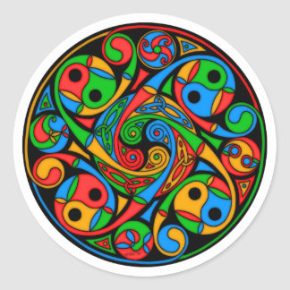 Celtic Stained Glass Spiral Classic Round Sticker
