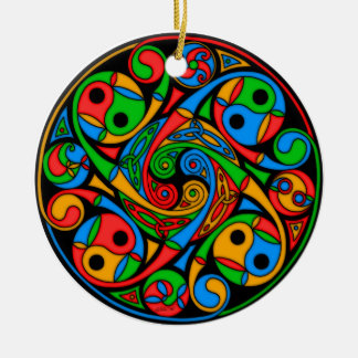 Celtic Stained Glass Spirals Ornament