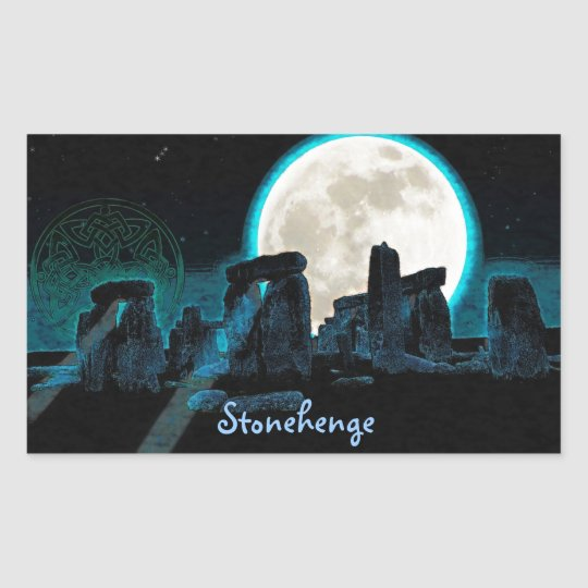 Celtic Stonehenge, Moon & Stars Astronomy U.K. Rectangular Sticker