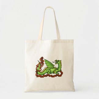 Celtic style dragon and rope.png budget tote bag