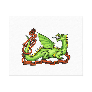 Celtic style dragon and rope.png canvas print