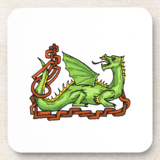 Celtic style dragon and rope.png drink coasters