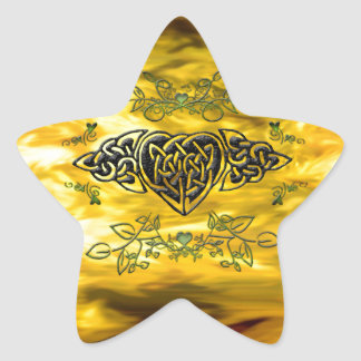 Celtic Style Heart Star Sticker