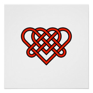 Celtic Style Knotted Heart Perfect Poster