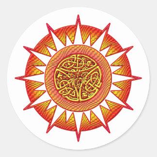 Celtic Sun 3 Round Sticker