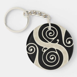 Celtic Swirls Elegant Abstract Letter S Pattern Keychain