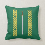 Celtic Sword and Knotwork Throw Pillow