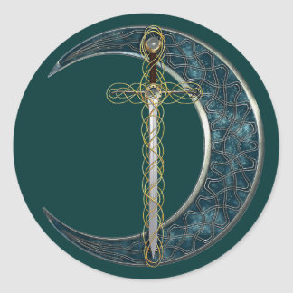 Celtic Sword and Moon Classic Round Sticker
