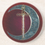 """Celtic Sword and Moon Drink Coaster<br><div class=""""desc"""">Celtic Sword surrounded by celtic knots and a Celtic inspired moon</div>"""