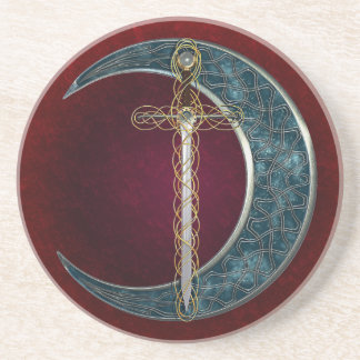 Celtic Sword and Moon Drink Coaster