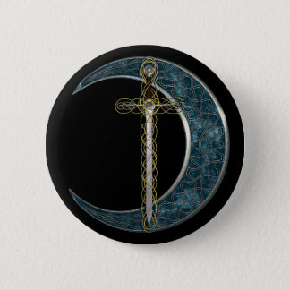 Celtic Sword and Moon Pinback Button