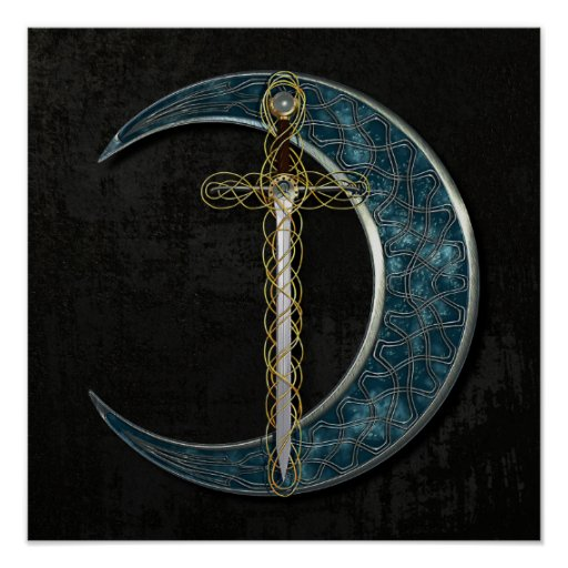 Celtic Sword and Moon Poster
