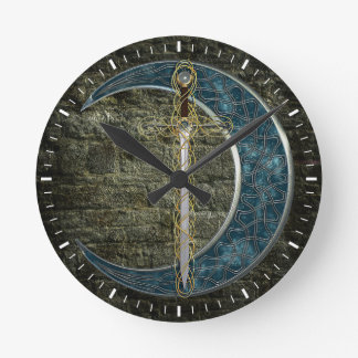Celtic Sword and Moon Round Clock