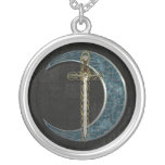 Celtic Sword and Moon Silver Plated Necklace