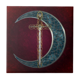 Celtic Sword and Moon Tile