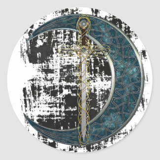 Celtic Sword and Moon with Grunge Classic Round Sticker