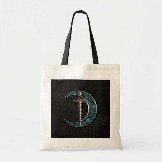 Celtic Sword and Moon with Grunge Wall Canvas Bag