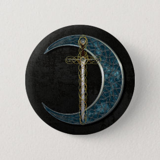 Celtic Sword and Moon with Grunge Wall Button